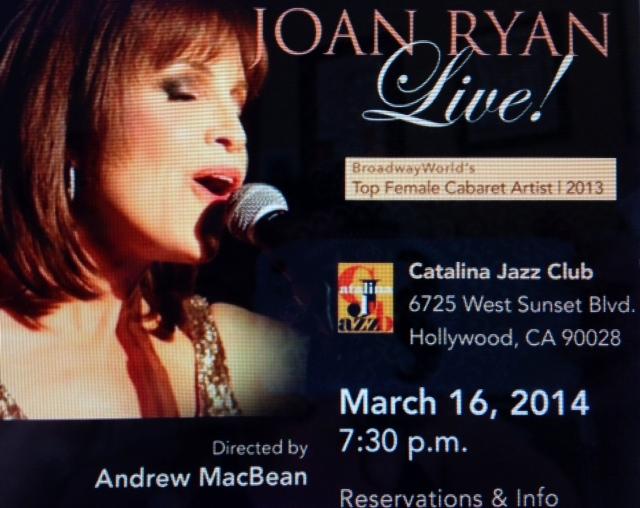 Winner of  BroadwayWorld's Top Female Cabaret  Artist 2013 ……..The Amazing  Joan Ryan…Sing's for us once again